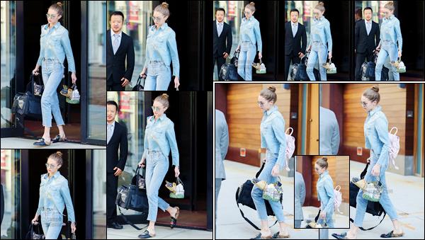 - '-16/04/17-' ◊C'est, comme toujours, en sortant de son appartement que Gigi Hadid a été photographiée, NY. C'est entièrement de bleu vêtue que nous retrouvons Gigi H. à qui j'accorde pour le coup un petit bof, je ne suis pas complètement fan ! -