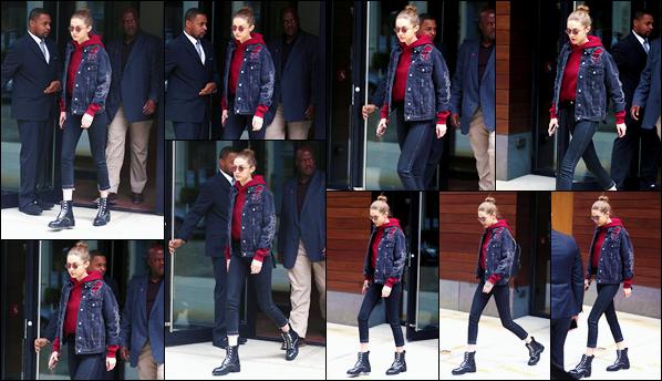 - '-17/04/17-' ◊Gigi Hadid a été aperçue alors qu'elle venait de sortir de son appartement dans New York City. C'est en portant des lunettes de soleils que je ne trouve pas fameuses que nous retrouvons Gigi à qui j'accorde cependant un petit top ! -