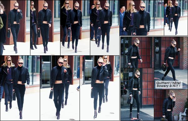 - '-02/02/17-' ◊Gigi Hadid a été photographiée alors qu'elle venait de sortir de son appartement, Manhattan. Le même jour, Jelena a été aperçue alors qu'elle sortait de l'hôtel « The Bowery » situé à Manhattan. Une tenue assez simple, mais top ! -