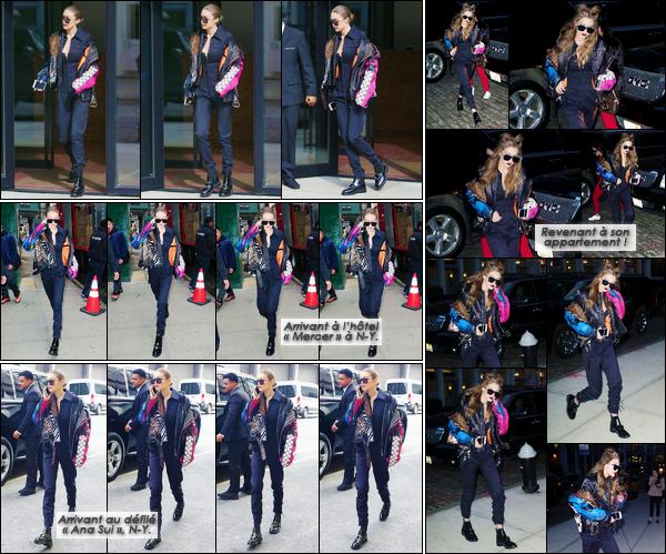 - '-15/02/17-' ◊Gigi Hadid a été photographiée alors qu'elle venait de sortir de son appartement à Manhattan. Journée plutôt chargée pour notre mannequin qui a par la suite été vue arrivant à un hôtel, puis au défilé « Ana Sui » avant de rentrer. -
