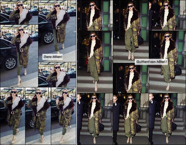 - '-25/02/17-' ◊Gigi Hadid a été aperçue alors qu'elle se promenait dans les célèbres rues de Milan en Italie ! Plus tard dans la soirée, la nuit tombée, Gigi a également été photographiée alors qu'elle sortait de son hôtel lui aussi situé dans Milan ! -
