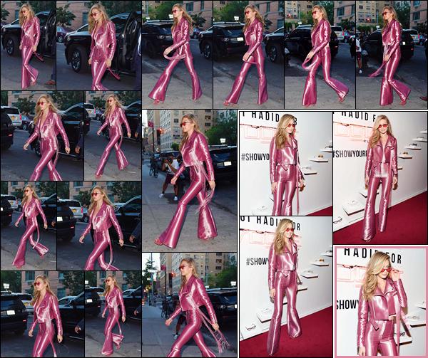 - '-27/06/17-' ◊Gigi Hadid a été aperçue arrivant à la soirée de lancement « #GigiForVogueEyewear » à N-Y. C'est par la suite sur le tapis rouge que nous retrouvons notre mannequin. Malgré le peu de photos on la voit souriante, un beau top. -