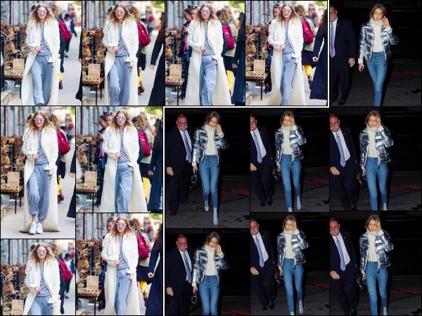- '-01/11/16-' ◊Gigi Hadid a été aperçue alors qu'elle se promenait dans les très célèbres rues de New-York City. Plus tard, la nuit tombée, c'est à nouveau dans les rues de New-York que notre miss Hadid a été aperçue. J'accorde ainsi deux petits flop. -