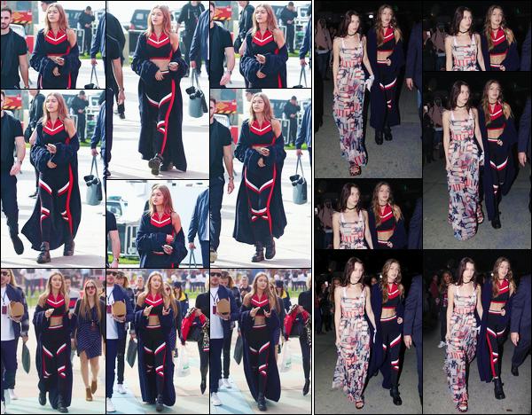 - '-08/02/17-' ◊Gigi Hadid a été vue alors qu'elle arrivait au défilé : « Tommy Hilfiger SS17 », à Venice Beach. Le soir même, Gigi a été photographiée quittant ce même défilé en compagnie cette fois-ci de sa soeur, Bella Hadid. Un beau petit top ! -