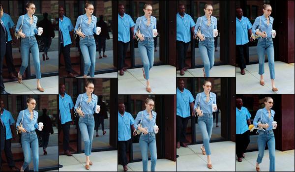 """- """"─-25/07/17-•"""": Gigi Hadid a été photographiée alors qu'elle venait de sortir de son appartement, Manhattan. Plus tôt dans la journée c'est accompagnée de Bella et de Alana que Gigi a été aperçue alors qu'elles étaient dans les rues de New York. -"""