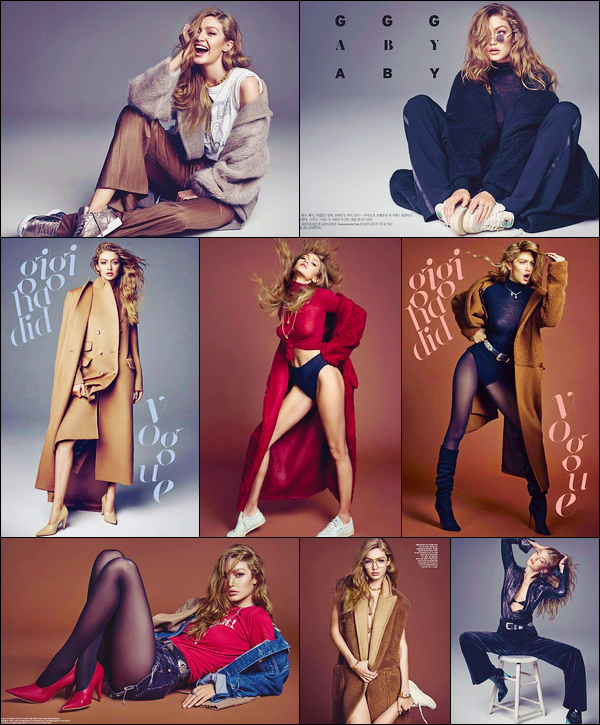 •Découvrez notreGigi Hadiden couverture du magazine :« Vogue Korea », septembre 2017 !