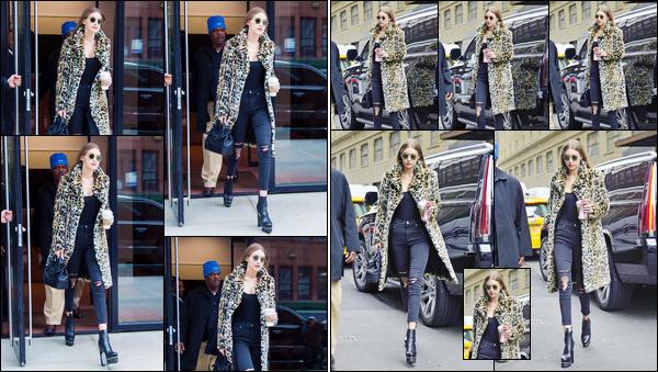 - '-20/01/17-' ◊Gigi Hadid a été aperçue alors qu'elle se trouvait être dans les célèbres rues de New-York City. C'est plus tôt que nous retrouvons notre belle blonde quittant son appartement. Un top pour sa tenue même si je n'aime pas le motif ! -