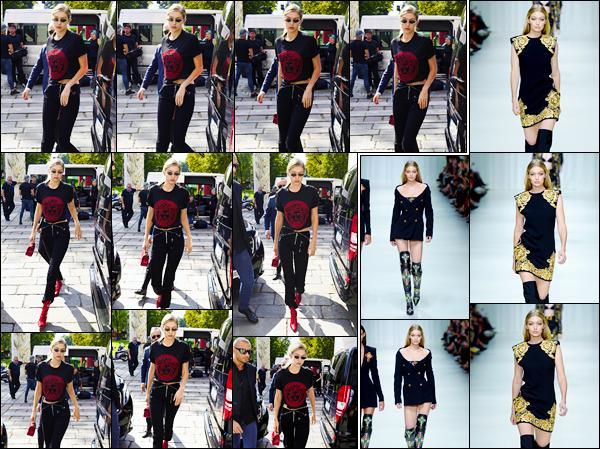 """- """"─-22/09/17-•"""": Gigi Hadid a été vue arrivant au défilé de la marque« Versace »se déroulant à Milan en Italie. C'est dans une tenue rouge et noir que nous retrouvons notre Gigi, cheveux attachés, pour le défilé, bof. En revanche, superbe au défilé ! -"""