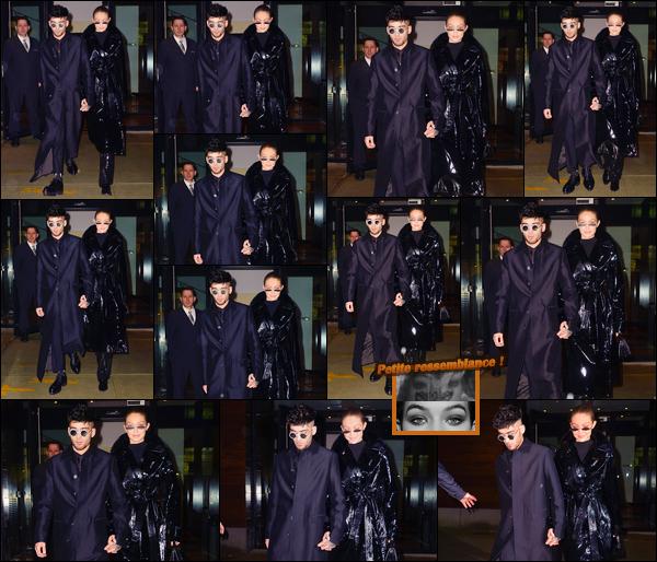 - ''•-12/01/18-' : Gigi Hadid a été photographiée avec Zayn Malik sortant de son appartement situé à Manhattan. C'est pour fêter le 25ème anniversaire de Zayn que les deux ont été vus. Apparemment Zayn aurait les yeux de Gigi tatoués sur le torse ! -