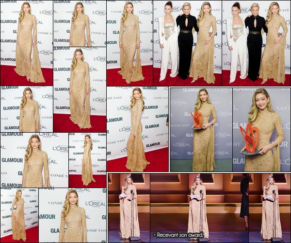 """- """"─-13/11/17-•"""": Gigi Hadid assistait à la cérémonie des« Glamour Women of the Year Awards » ayant lieu à N-Y. C'est en compagnie de sa soeur et de sa mère que nous retrouvant Gigi à cette cérémonie à laquelle elle a par ailleurs remporté un prix. -"""