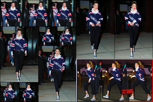 - ''◊-19/12/17-' : Gigi Hadid a été vue alors qu'elle venait de quitter son appartement avec Bella dans Manhattan. Par la suite, Gigi a été aperçue arrivant au « Madison Square Garden » pour assister à la rencontre des Rangers contre les Ducks. Un top. -