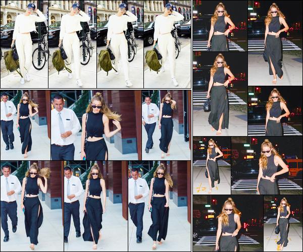 - '-14/07/16-' ◊Gigi Hadid a été aperçue alors qu'elle venait tout juste d'arriver à son appartement, Manhattan. Plus tard, Gigi a été photographiée quittant son appartement puis revenant encore une fois un peu plus tard. Je lui donne un flop et top. -