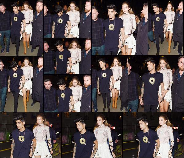 """- '-02/10/16-' ◊Gigi Hadid, accompagnée de Zayn Malik, a été vue quittant le défilé « Givenchy », dans Paris. C'est pour assister en tant que spectatrice à ce défilé en compagnie de son """"petit ami"""" que nous retrouvons Gigi a qui j'accorde un top. -"""