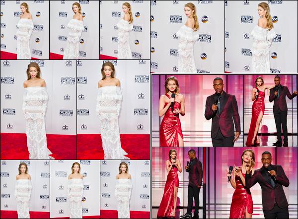 - '-20/11/16-' ◊Gigi Hadid était présente aux « American Music Awards 2016 » qu'elle présentait, Los Angeles. C'est ainsi pour présenter le show que nous retrouvons Gigi lors de cette remise d'awards. Je ne suis pas très fan de sa coiffure, mais top. -