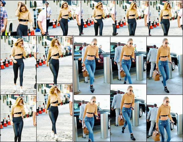 - '-26/07/17-' ◊Gigi Hadid a été photographiée sur le set d'un photoshoot pour « Maybelline », dans New-York. Un peu plus tard, dans la même tenue que plus tôt, Gigi a été aperçue arrivant à l'aéroport « JFK » de New-York pour rejoindre L.A. Top. -