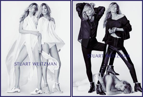 •Gigi Hadid, Kate Moss & Jordan Barrettpour« Stuart Weitzman »Spring/Summer '18.
