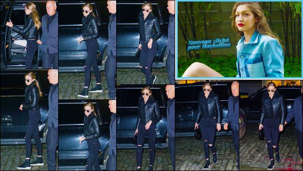 - ''•-17/01/18-' : Gigi Hadid a été photographiée lorsqu'elle venait d'arriver à son appartement dans Manhattan. C'est probablement après avoir réalisé un photoshoot pour Maybelline que nous retrouvons Gigi devant son appartement. Tenue simple ! -