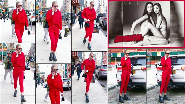 - ''•-31/01/18-' : Gigi Hadid a été photographiée lorsqu'elle venait de quitter son appartement, dans Manhattan. C'est dans une tenue complètement rouge que nous retrouvons Gigi à la sortie de son appartement. Je ne suis pas fan de sa tenue, flop. -