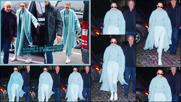 - ''•-06/02/18-' : Gigi Hadid a été aperçue alors qu'elle venait de revenir à son appartement situé à Manhattan. C'est après avoir réalisé une photoshoot que nous retrouvons notre ravissante mannequin, toute de bleue vêtue, prête à rentrer. Un bof. -