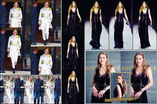 - ''•-09/02/18-' : Gigi Hadid quittait son appartement pour se rendre au défilé« Bottega Veneta »dans New-York. C'est dans une tenue bien blanche avec une touche de couleur que nous retrouvons Gi'. Pour le défilé, elle se trouvait être très jolie, top ! -