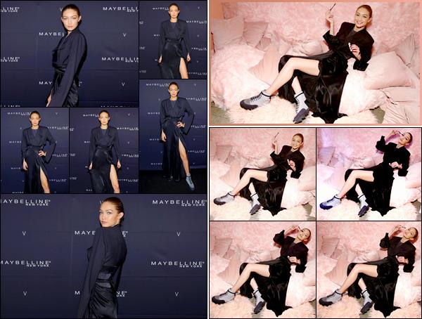 - ''•-11/02/18-' ─ Gigi Hadid assistait à la soirée « Maybelline New York x V Magazine » pour la FW de New York. C'est dans une tenue noir que nous retrouvons notre mannequin pour cette soirée après avoir défilé. Elle était plutôt jolie, tout petit top.. -