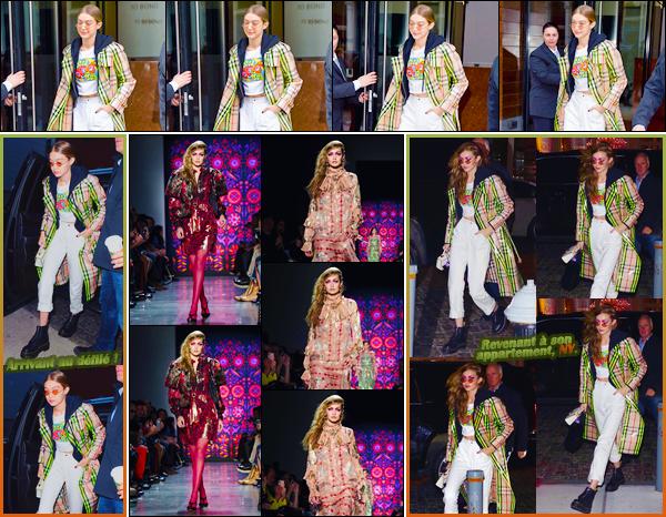 - ''•-12/02/18-' ─ Gigi Hadid a été photographiée à la sortie de son appartement pour le défilé « Anna Sui », à N-Y. C'est dans une tenue décontractée que nous retrouvons notre ravissante mannequin pour aller défilé. Je ne suis pas dan de son look, bof. -