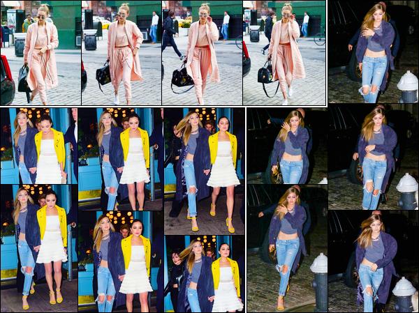 - ''•-11/04/16-' : Gigi Hadid a été photographiée photographiée alors qu'elle revenait à son appartement à N-Y. Plus tard, le soir, Gigi a été aperçue quittant un événement en compagnie d'Olivia Culpo. Puis, dans les rues de New-York. Deux petit top. -