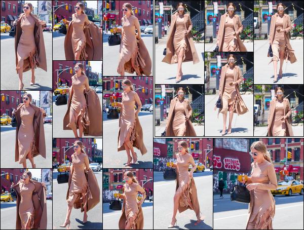 - ''•-09/05/16-' : Gigi Hadid a été aperçue alors qu'elle se trouvait être dans les très célèbres rues de New York. C'est dans une robe beige que nous retrouvons notre belle Gigi dans les rues de New-York. Lunettes de soleil sur le nez, j'accorde un bof. -