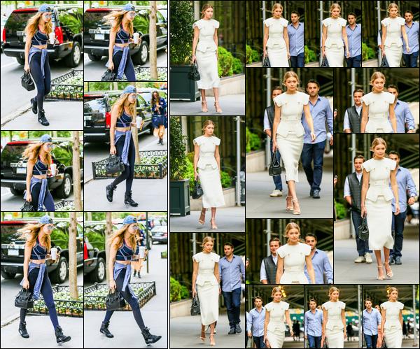- ''•-10/05/16-' : Gigi Hadid a été photographiée alors qu'elle se trouvait être dans les rues de New-York City. Plus tard, dans une tenue beaucoup plus classe, Gigi a été aperçue dans New-York pour aller déjeuner. Juste magnifique, énorme top. -