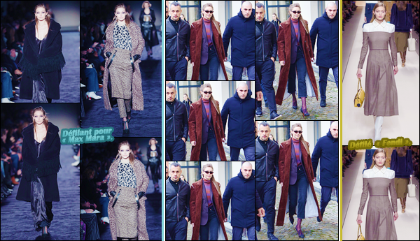 - ''•-22/02/18-' ─ Gigi Hadid a été photographiée alors qu'elle venait de quitter le défilé de :« Max Mara » à Milan. C'est ainsi après le défilé que nous retrouvons notre mannequin dans Milan. Pour sa tenue, je lui offre un top. Je suis fan de sa coiffure ! -