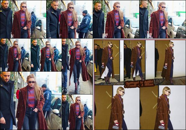 - ''•-22/02/18-' ─ Gigi Hadid a été vue alors qu'elle venait de s'offrir un petit café dans la célèbre ville qu'est :Milan. C'est dans la même tenue que la sortie précédente que nous retrouvons notre ravissante blondinette. C'est ainsi toujours un énorme top. -