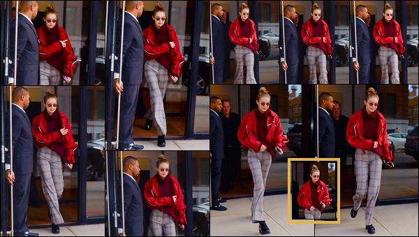 - ''•-15/03/18-' ─ Gigi Hadida été photographiée alors qu'elle quittait son appartement se trouvant dansManhattan. C'est ainsi à nouveau à la sortie de son appartement que nous retrouvons notre mannequin. Pour ce look, je lui accorde un bon petit flop. -