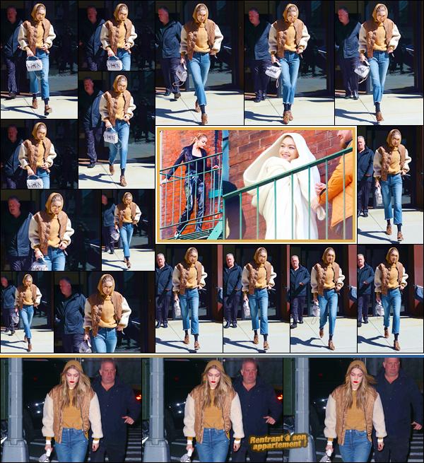 - ''•-19/03/18-' ─ Gigi Hadida été photographiée alors qu'elle quittait son appartement étant situé dansManhattan. Plus tard, notre ravissante mannequin a été aperçue sur le set d'un photoshoot qui se déroulait dans Brooklyn. Je lui accorde un bon top. -
