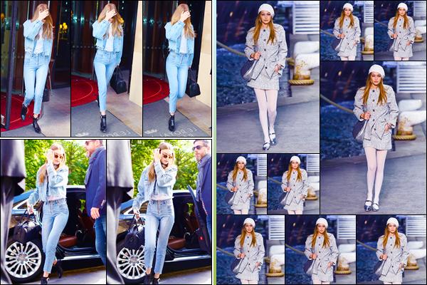 - ''•-03/05/18-' : Gigi Hadid a été photographiée se rendant au défilé« Chanel Cruise »qui avait lieu dans Paris. C'est tout d'abord à la sortie de son hôtel, puis, arrivant au défilé que nous retrouvons Jelena. Un petit top pour son look et pour le défilé. -