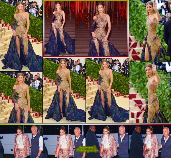 - ''•-07/05/18-' : Gigi Hadid était au« MET Gala : Corps célestes : Mode et imagerie catholique »,ayant lieu à NY. C'est dans une robe magnifique de Versace que nous retrouvons G. dont la robe représente le vitrail présent dans les églises. Magnifique. -