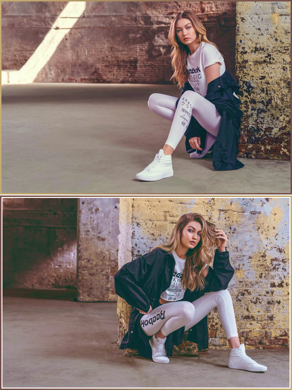 '-PHOTOSHOOT •-' De nouveaux clichés deGigi Hadidpour :«Reebok's Freestyle Hi Nova»!