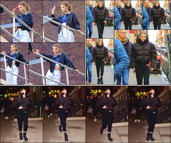 - ''•-07/03/19-' : Notre ravissante Gigi Hadid a été vue sur le set d'un photoshoot pour« Maybelline »,dans N-Y. Elle a par la suite été vue dans les rues de la ville, puis, lorsqu'elle revenait à son appartement situé à Manhattan. Un flop pour son look. -