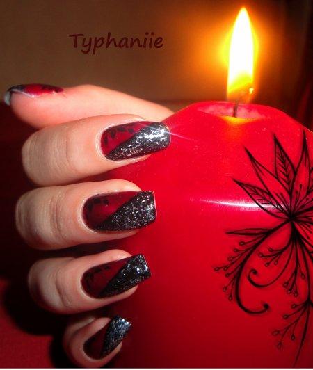 """Nail art """"rouge"""" avec fleur"""