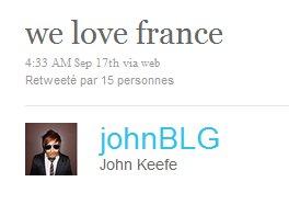"""John : """" we love france """""""