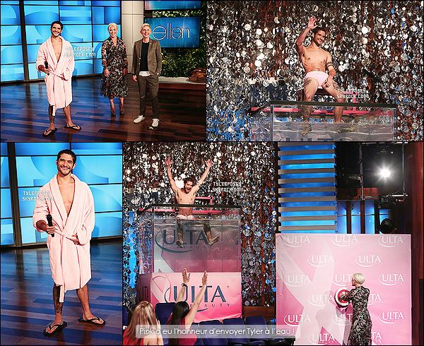 """13/10/14 : Tyler était présent dans l'émission de la célèbre Ellen DeGeneres qui a été diffusée hier soir ! Tyler a participé au défi du """"dunk tunk"""" (cuve en immersion), afin d'aider à récolter des fonds pour la recherche sur le cancer du sein."""