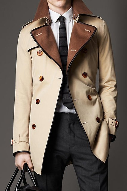 Wool Collar Trench Coat by Burberry