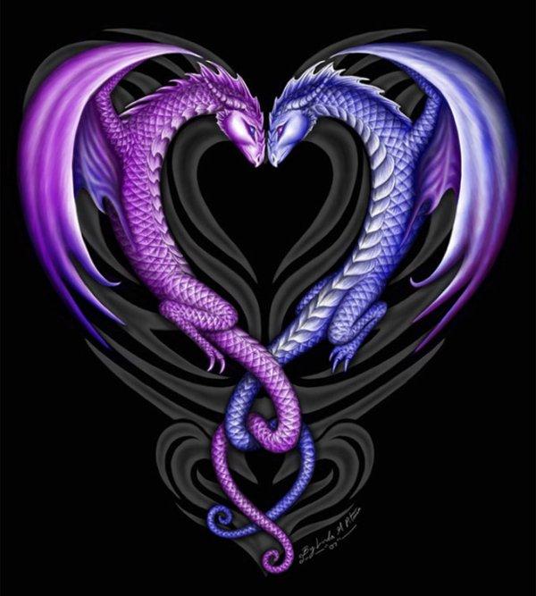 Ils sont trop beau ces deux dragons qui forment un coeur
