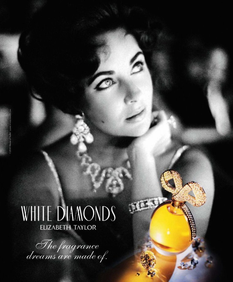 """ADVERTISING / Elizabeth TAYLOR's perfume... Elizabeth TAYLOR a lancé trois parfums, """"Passion"""", """"White Diamonds"""" (qui fait partie des dix meilleures ventes de parfums de la décennie 1990) et """"Black Pearls"""" dont les ventes lui rapportent près de 200 000 000 dollars US annuels."""