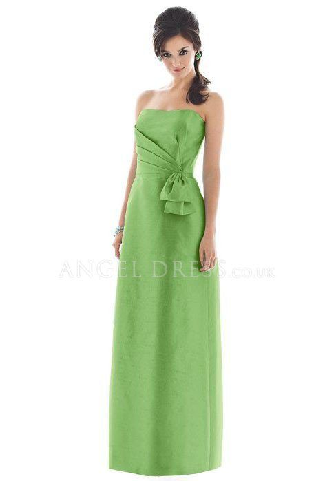 V Neck A line Taffeta Floor Length Natural Waist Sleeveless Bridesmaid Dress With Bowknot