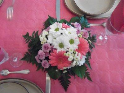 Centre de table dans les tons de rose