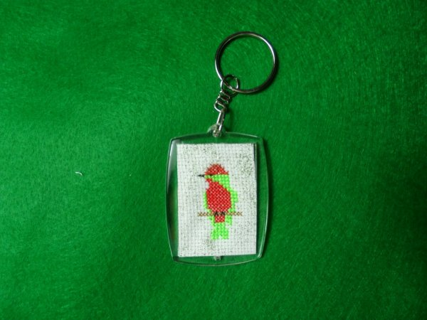 "porte clé rectangle ""petit oiseau"" recto"