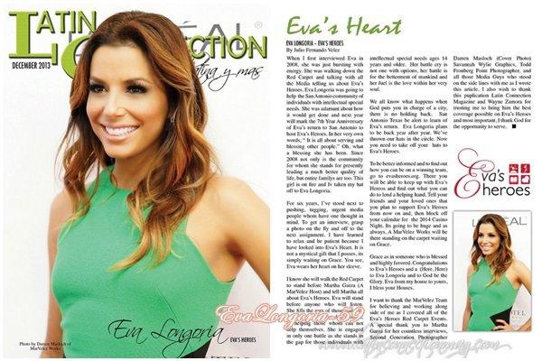 Eva Longoria. Numéro de Décembre 2013 de Latin Connection Magazine.