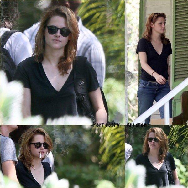 Kristen sur le tournage de 'On The Road' en Nouvelle-Orléans le O3/O9/lO.