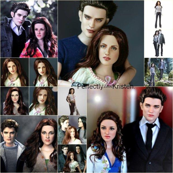 Voici les poupées à l'éfigie des héros de Twilight!  Je trouve que celles qui sont les plus ressemblante sont celle où il y a Kris' & Rob' qui vont au bal.