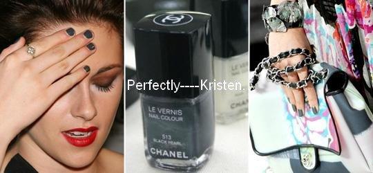Si vous désirez vous procurez le même vernis que Kristen : Chanel BLACK VELVET. [ Je veuux! ]